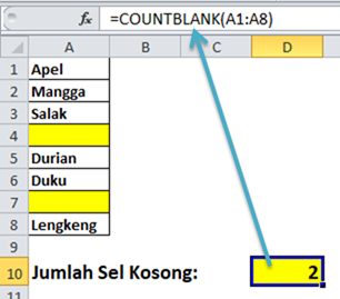Fungsi COUNTBLANK menghitung cell kosong