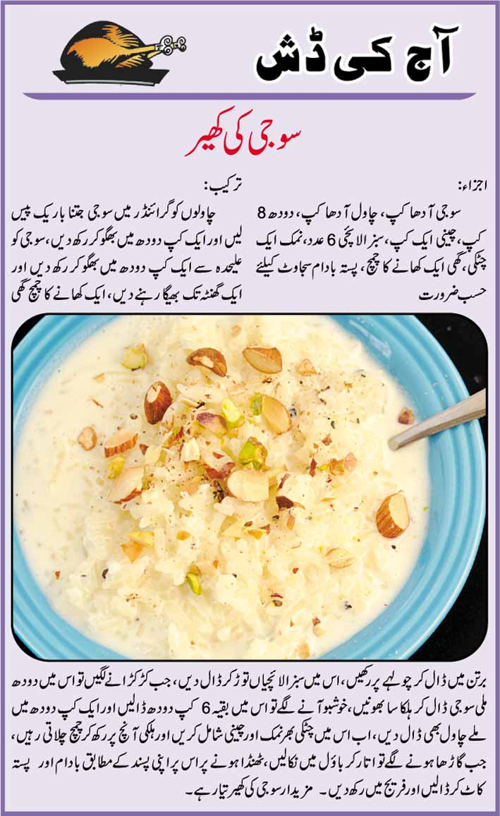 Daily Cooking Recipes In Urdu Suji Ki Kheer Recipe In Urdu