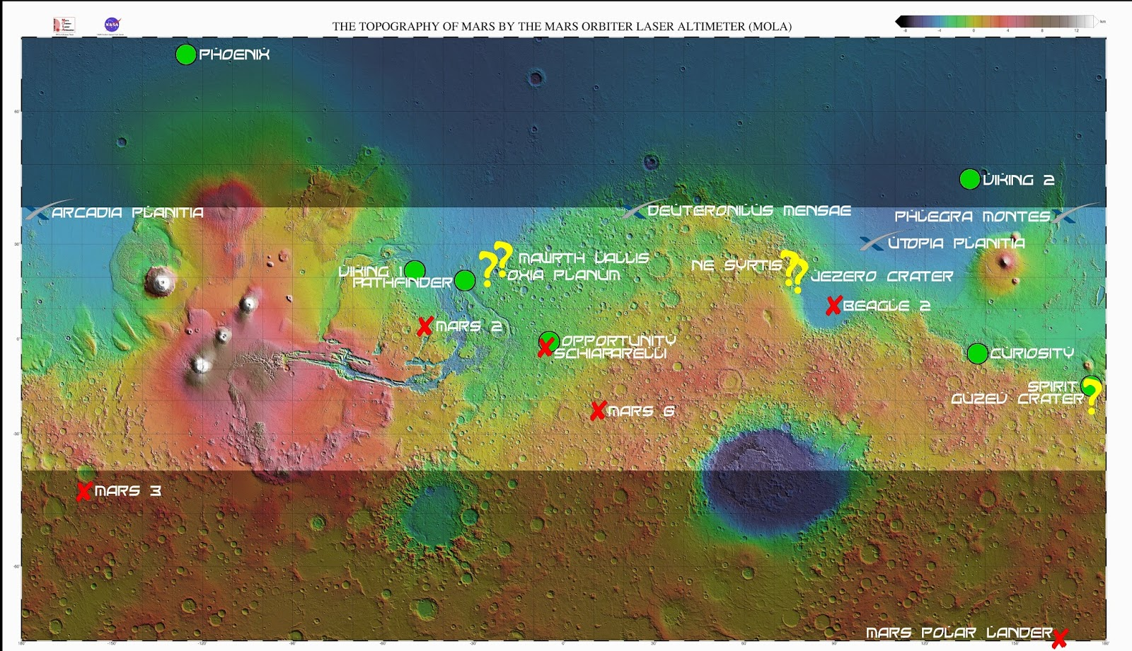 Map of possible landing sites for Red Dragon and Mars2020/ExoMars missions