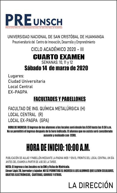 CUARTO EXAMEN CICLO ACADÉMICO 2020 -III