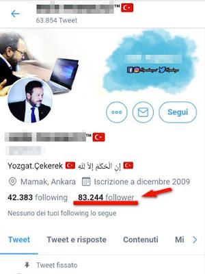 Profilo su Twitter che non ho mai deciso di seguire: personaggio turco