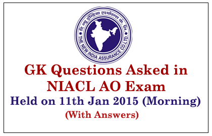 GK Questions Asked in NIACL AO Exam