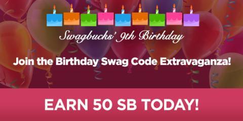Image: Swagbucks is celebrating their 9th birthday, Swagbucks is having a Swag Code Extravaganzas, which is one of the easiest ways to earn SB!