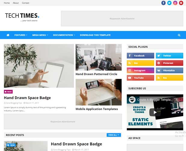 5 Best Fast Loading Blogger Template for AdSense approval 2021