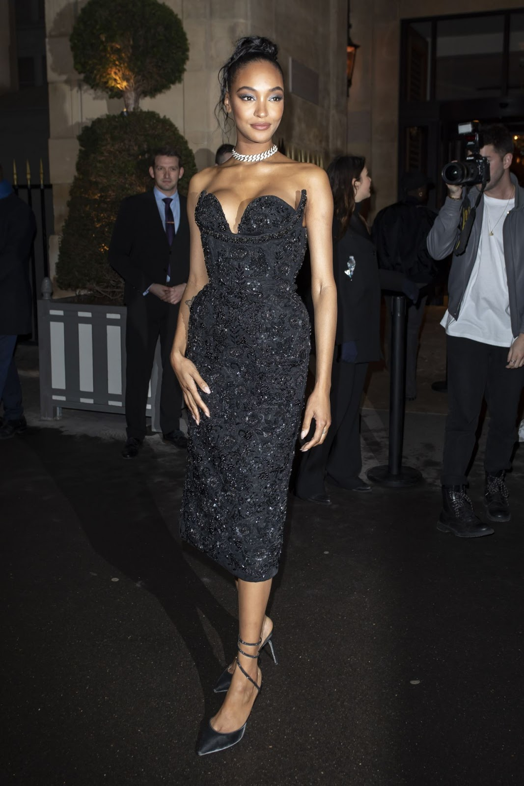 Jourdan Dunn is busty in sequinned corset dress at the CR Fashion Book x Redemption Party in Paris