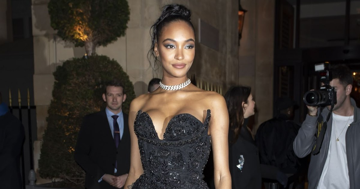 Jourdan Dunn is busty in sequinned corset dress at the CR