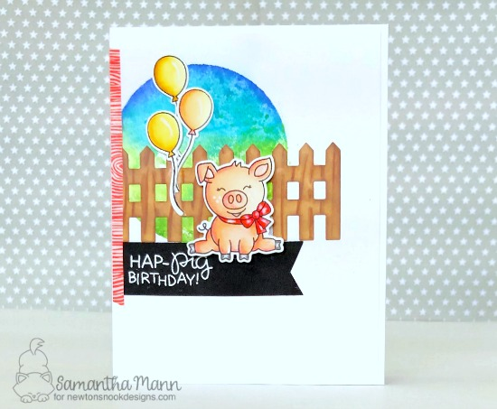 Pig Birthday Card by Samantha Man | Oink Stamp Set and Fence Die by Newton's Nook Designs #newtonsnook #handmade