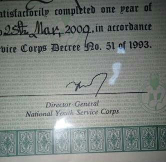See NYSC Certificate Signed By Same Ex-DG Who
