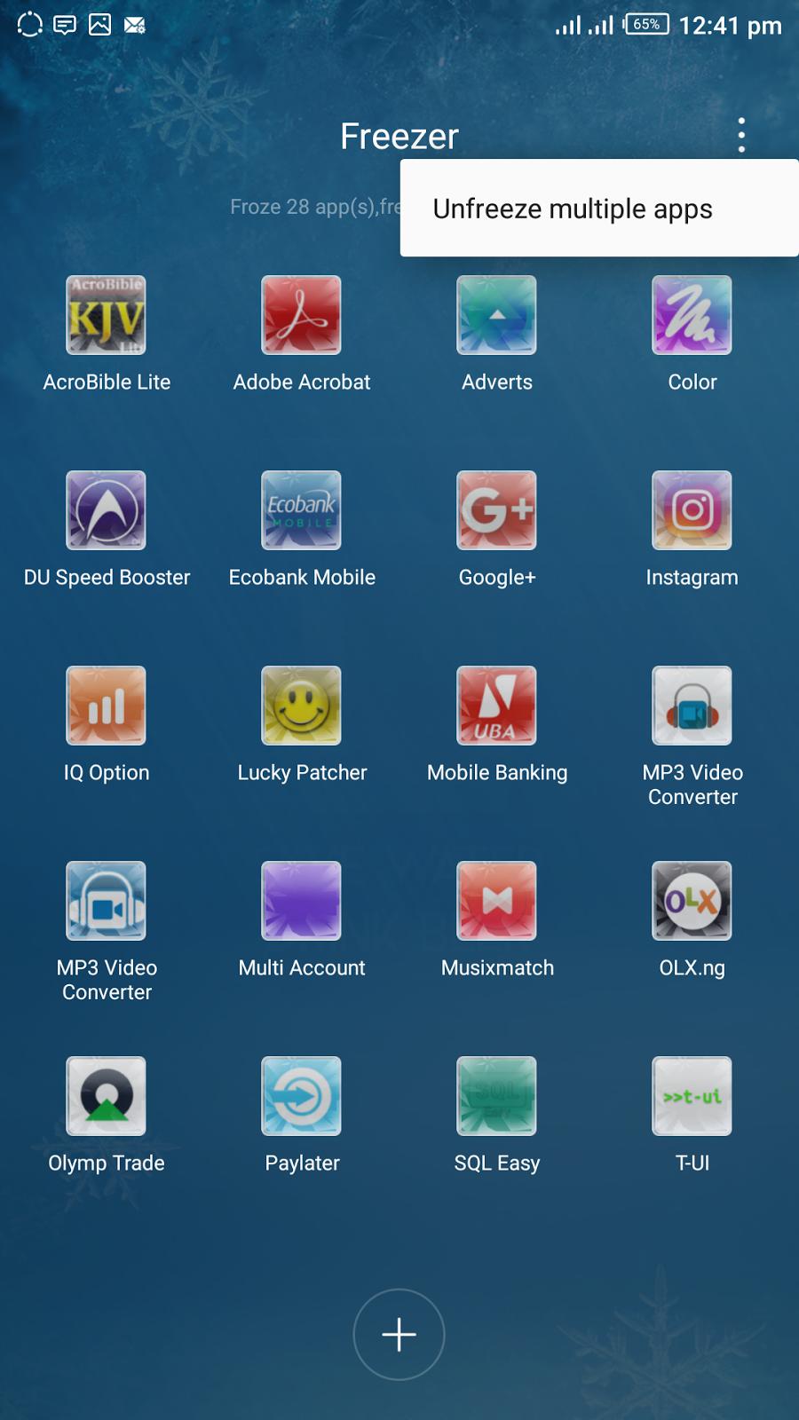 unfreeze multiple apps