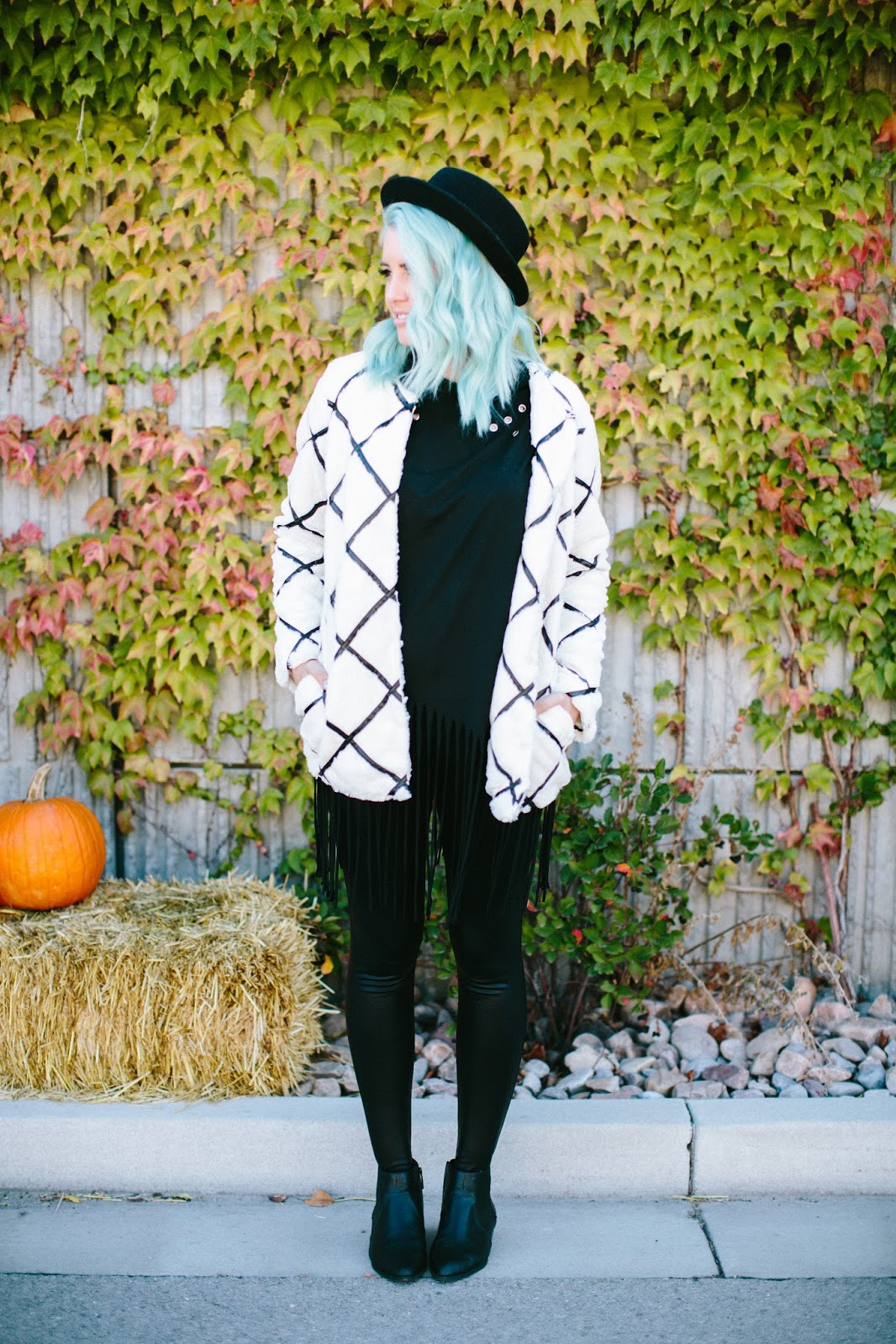 Fall Outfit, Black and White Outfit, Fur Jacket