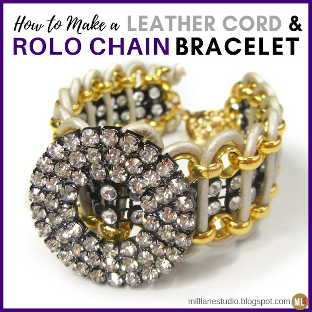 Sparkly bracelet made by weaving leather cord through rolo chain and diamanté braid