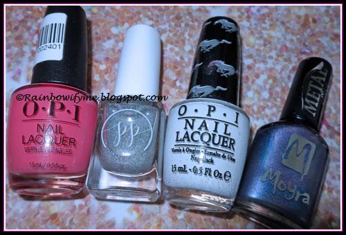 "OPI ""ElePhantastic Pink""; Painted Polish ""Diamond Dust""; OPI ""Angel With a Leadfoot""; Moyra #303"