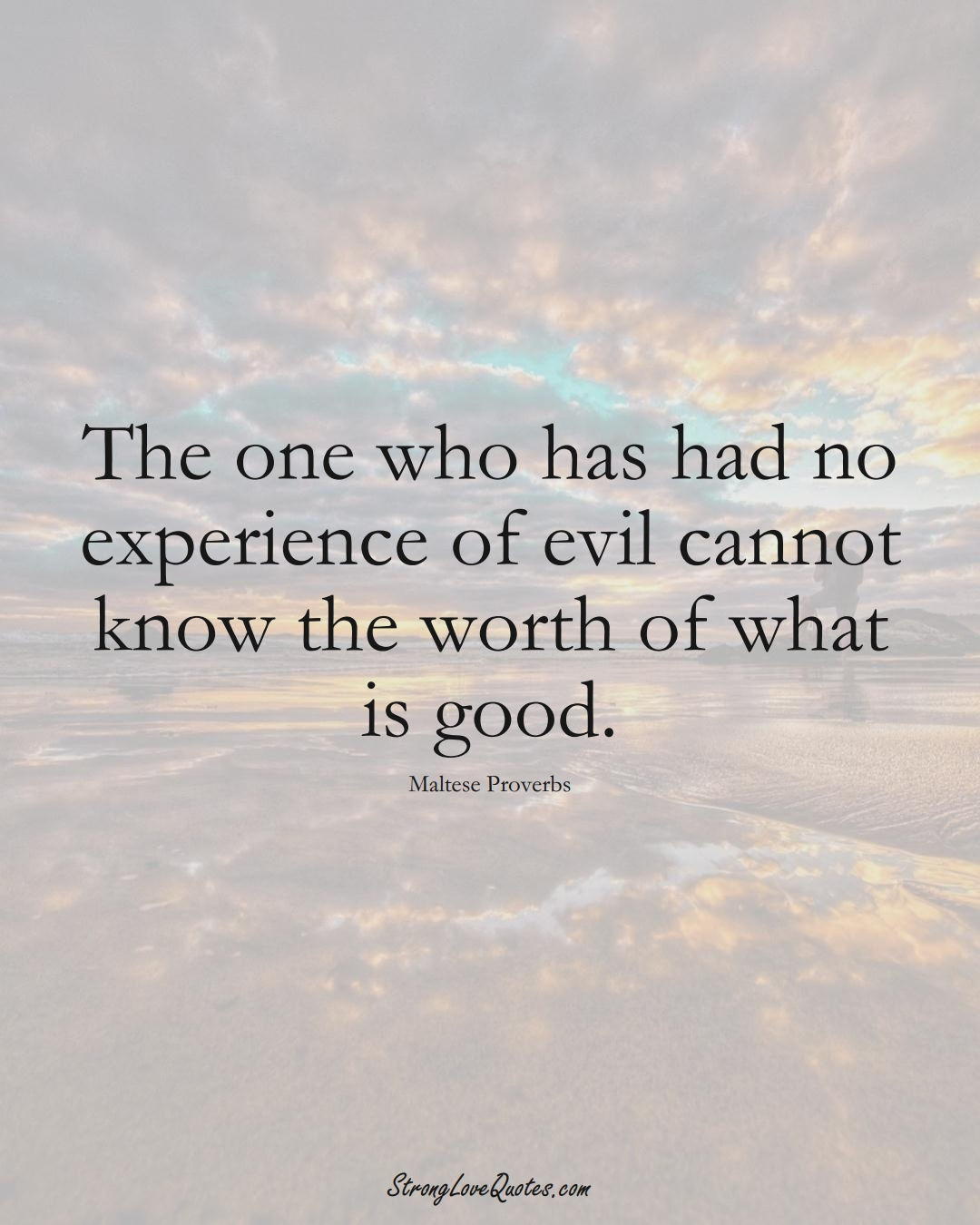 The one who has had no experience of evil cannot know the worth of what is good. (Maltese Sayings);  #EuropeanSayings