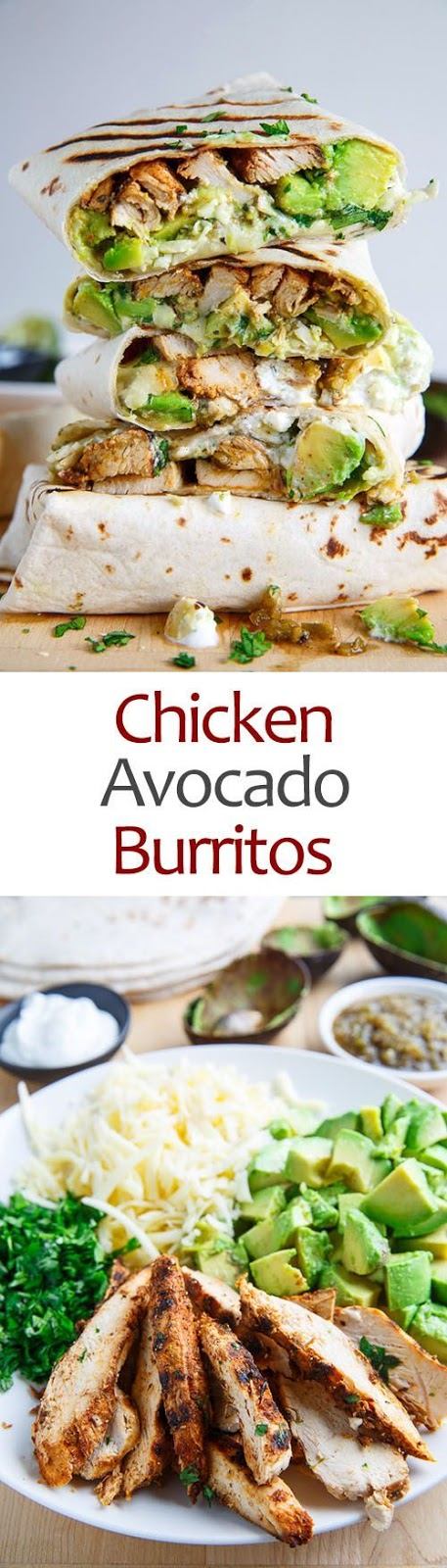 Burritos stuffed with juicy chicken, cool and creamy avocado, oozy gooey melted cheese, spicy salsa verde and sour cream!