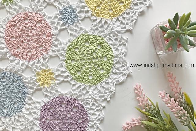 crochet table runner, taplak rajut, crochet, home decor, crochet for home decor, rajutan taplak, merajut taplak