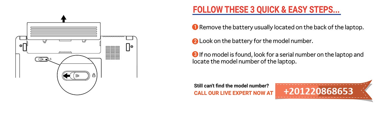 Laptop battery model number finding method