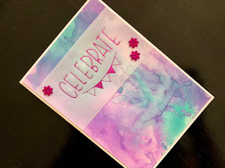 Hand Made Birthday Card with Inked Background and Hot Foil on Vellum Greeting
