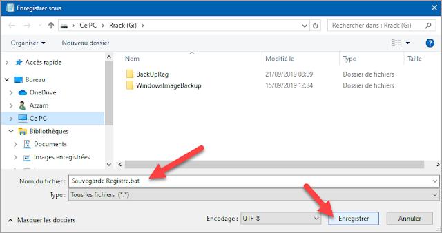 Mots-clés : Sauvegarde, sauvegarde manuelle, restauration, faire une copie, base de registre, batch, bat, Windows 10, reg.exe, sécurité, trucs, astuces