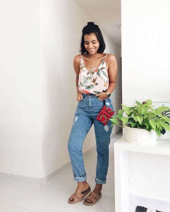 10 ideias de looks com calça mom jeans