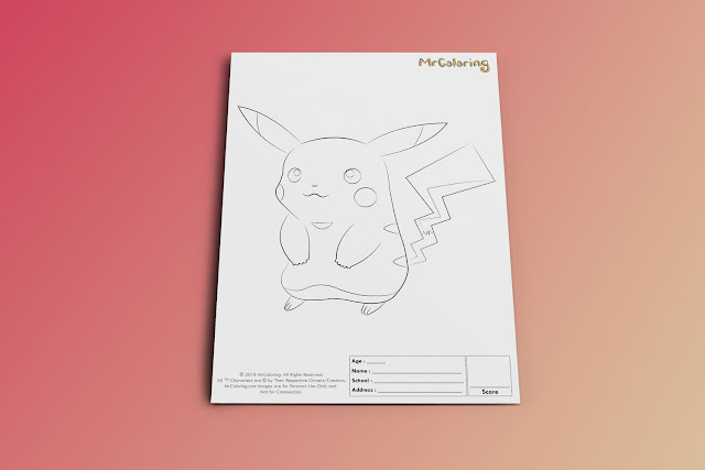 Free Printable Anime Pokemon Pikachu Coloriage Outline Blank Coloring Page pdf For Kids Kindergarten Preschool toddler coloring sheets 1