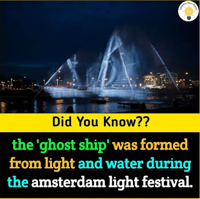 The ghost-ship was formed from light and water during the Amsterdam light festival.