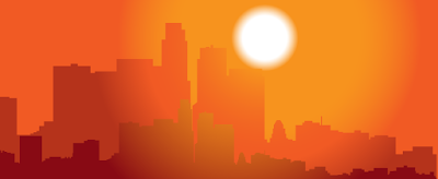 Silhouettes of high-rises against an yellow, orange and red sky with a big, white sphere