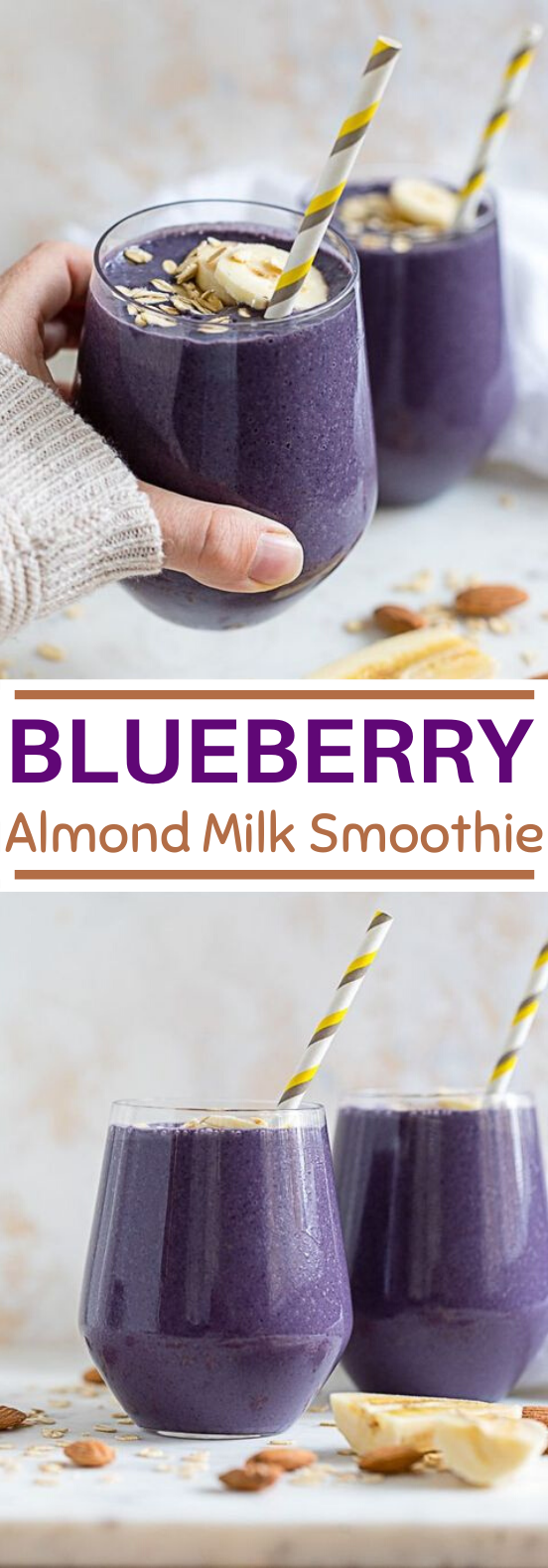 Blueberry Almond Milk Smoothie #drink #healthy #smoothies #breakfast #snacks