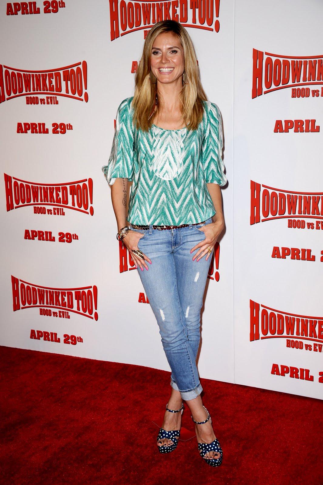 417d60f844b41 Heidi Klum at the Hoodwinked Too! Hood vs. Evil premiere, her last movie.