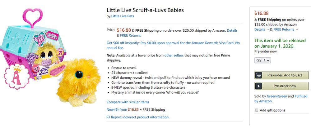 Сюрпризы для девочек Little Live Scruff-A-Luvs Babies