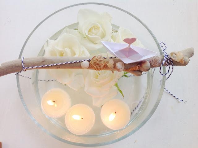 Centrotavola conchiglie e rose
