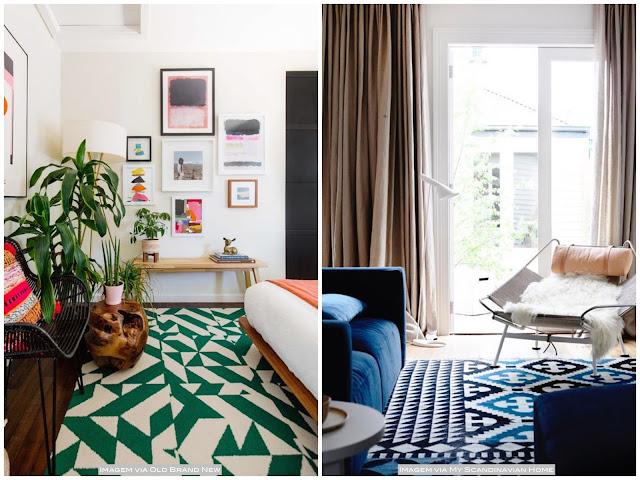 idéias de decoração com tapete colorido