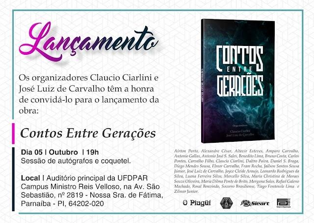 """Com participação chavalense, livro """"Contos entre Gerações"""" será lançado em Parnaíba/PI"""