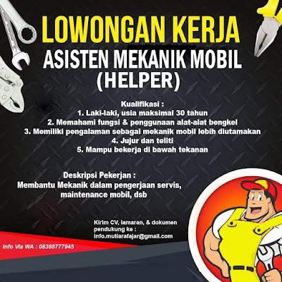 Lowongan Kerja Mutiara Fajar Sebagai Asisten Mekanik Mobil (Helper)