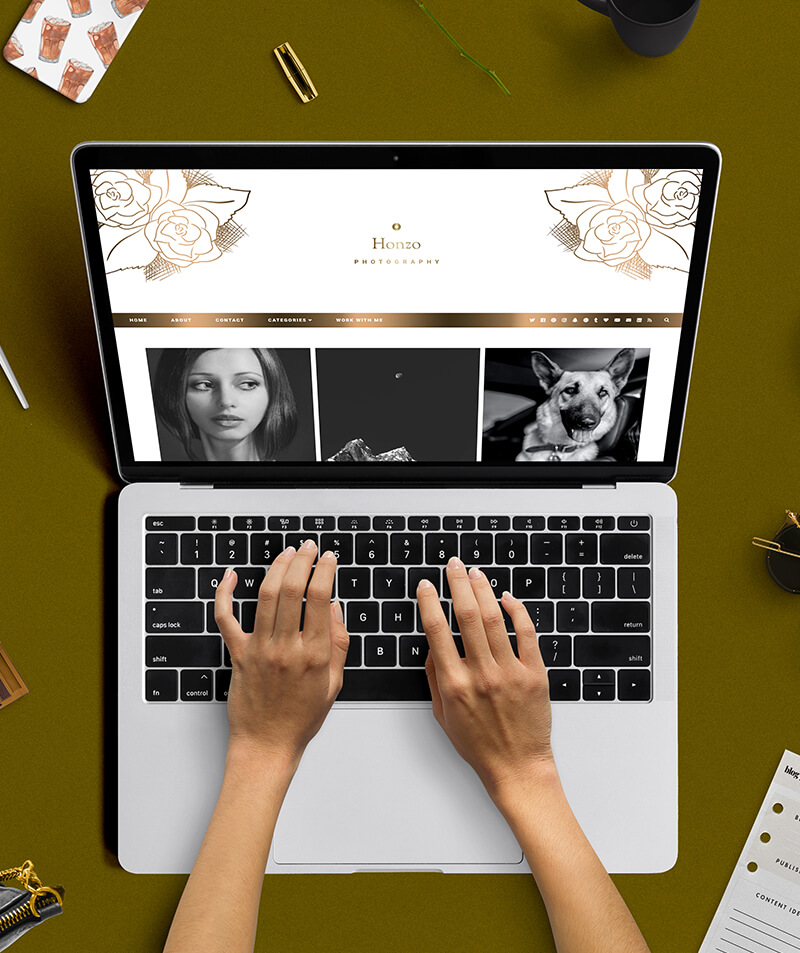 styled desktop premade blogger template honzo photography