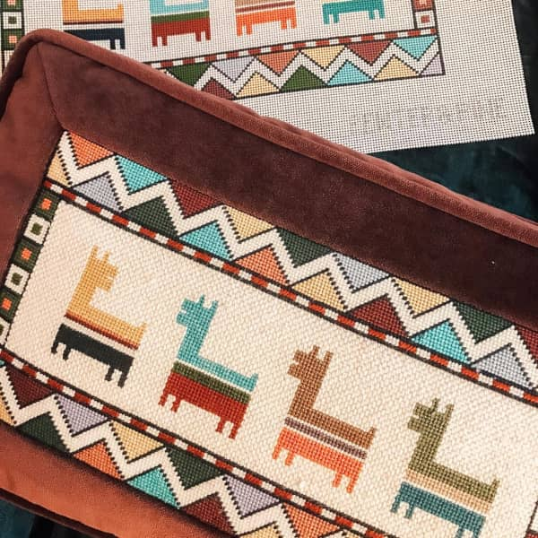 Llamas with zigzag boarder needlepoint pillow