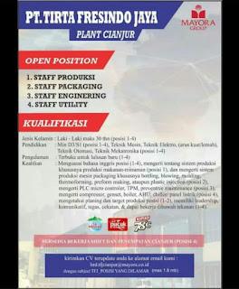 Lowonga Staff PT. TIRTA FRESINDO JAYA PLANT CIANJUR (MAYORA GROUP) 2020