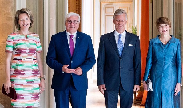 German President Frank-Walter Steinmeier and he's wife Elke Buedenbender in Brussels. Natan dress