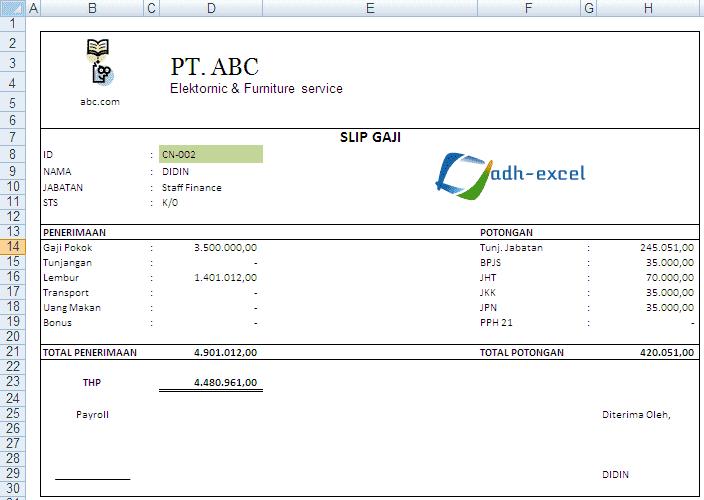 Contoh Form Slip Gaji di Excel - Adhe-Pradiptha