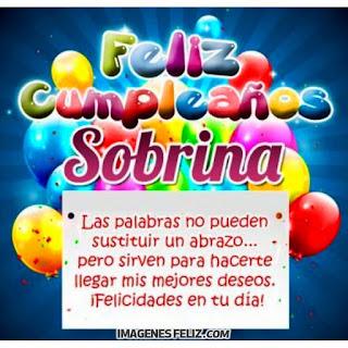Feliz Cumpleaños Sobrina. Felicitaciones para enviar por messenger o whatsapp