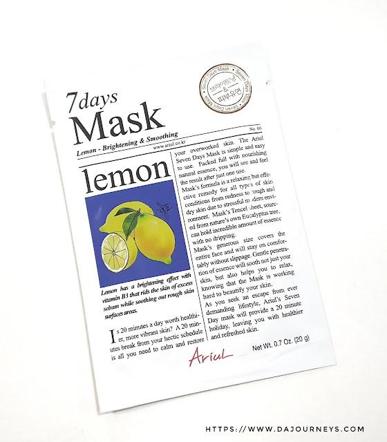 Review ARIUL 7 Day Masks Lemon