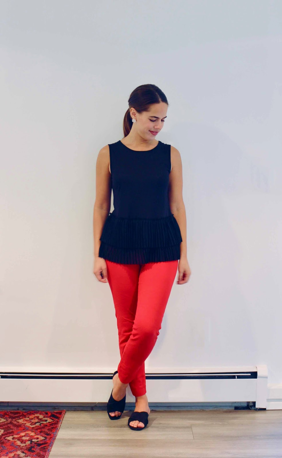 Jules in Flats - Black Pleated Sleeveless Top with Red Ankle Pants (Business Casual Summer Workwear on Budget)