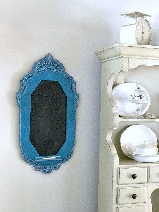 Creating an antique chalkboard frame with a pop of color.