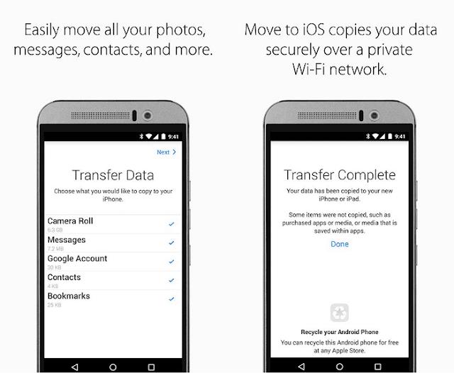 إستعمال تطبيق Move to iOS للأندرويد لنقل كافة البيانات بسرعة