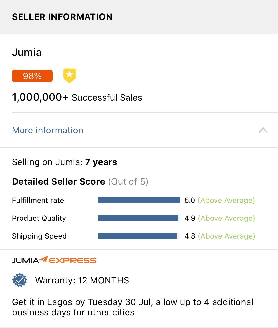 Jumia Seller Information