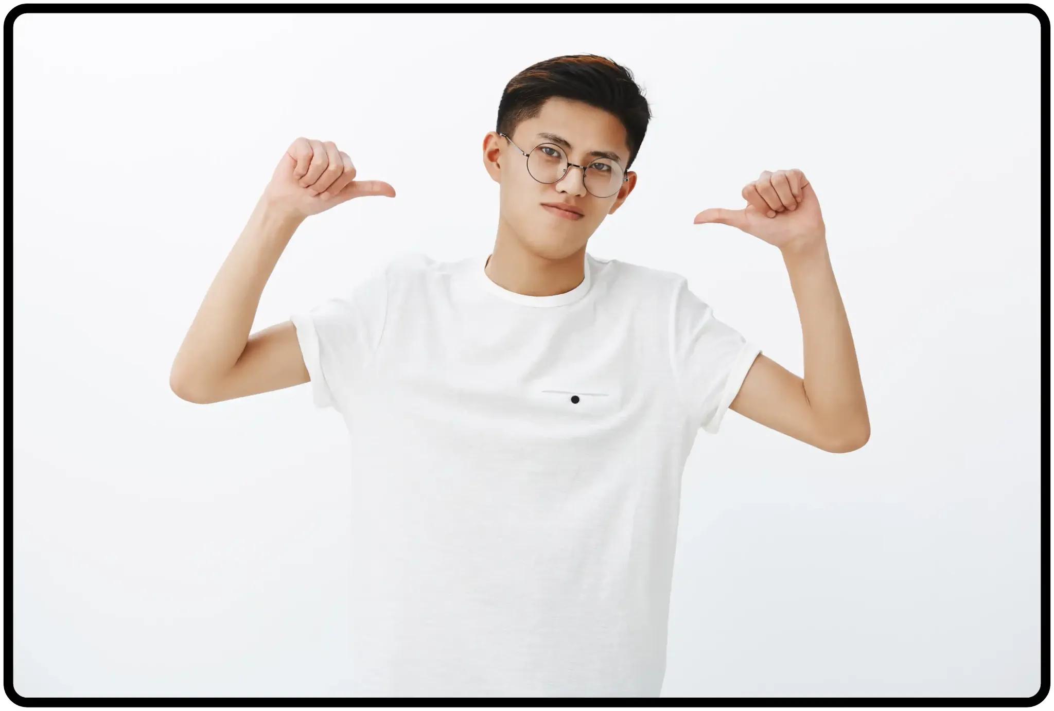 Bad habits - boasting - feeling proud - man with white shirt image