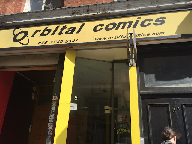 The store front of Orbital Comics in London
