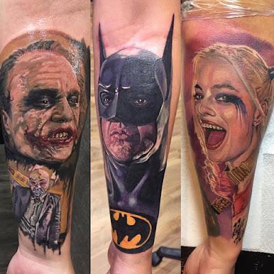 Tatuajes realistas de Batman, The Joker y Harley Quinn