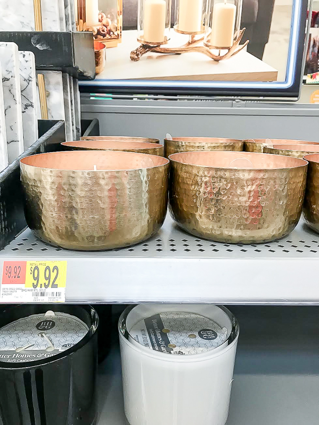 Hammered metal candle from Walmart