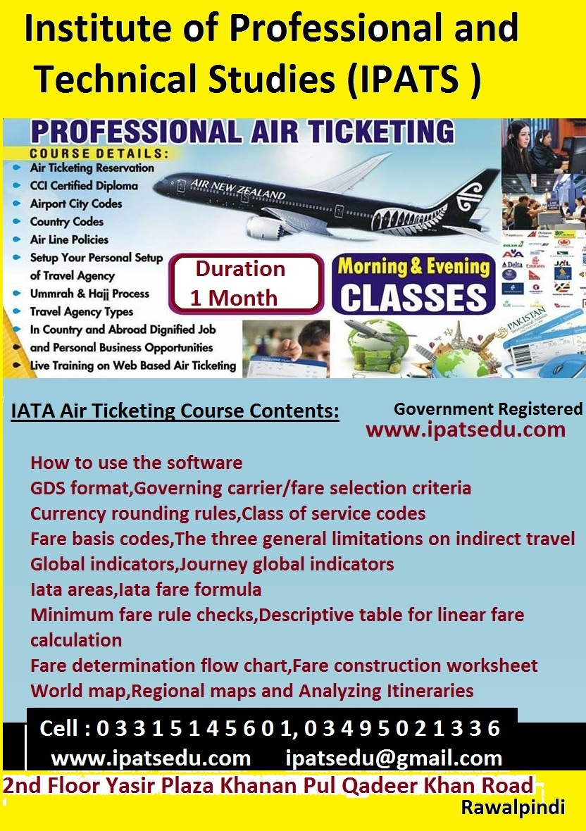 IATA Air Ticketing & Resevation Course in islamabad 303-5530865