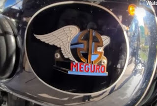 Close-up of Meguro logo on tank.